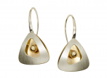 Shadow Box earrings by E.L. Designs in Sterling Silver with 14K Gold Overlay and 14K Gold Ball