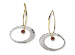 Elliptical Elegance by E.L. Designs in Sterling Silver and 14K earwire with Faceted Garnet (medium)