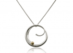 Bindu Pendant by E.L. Designs in Sterling Silver with 14K Gold Ball accent
