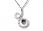 Fiddlehead Pendant by E.L. Designs in Sterling Silver and 14K bezel with Amethyst