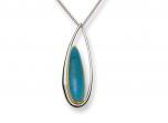 Rockabye Pendant by E.L. Designs in Sterling Silver & 14K Gold accent with Turquoise