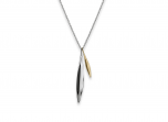 """Willow Pendant by E.L. Designs with Sterling Silver large """"leaf"""" and 14K gold small """"leaf"""""""