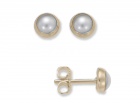 Button Earrings by E.L. Designs in 14K gold with Pearls