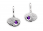 Bright Earrings by E.L. Designs in Sterling Silver with Faceted Amethyst