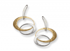 Entwined Elegance Earrings by E.L. Designs in Sterling Silver with 14K Gold Overlay (larger disc)