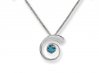 Nautilus Pendant by E.L. Designs in Sterling Silver with Blue Topaz