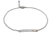 Heart Anklet by E.L. Designs in Sterling Silver with 14K rose gold heart accent