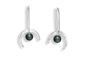 Celestial Earrings by E.L. Designs in Sterling Silver with Button Black Pearl