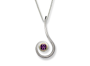 Dancing Clef Pendant by E.L. Designs in Sterling Silver & 14K Gold bezel with Amethyst