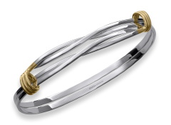 Signature Twist Bracelet by E.L. Designs in Sterling Silver & 14K Gold wrap accents