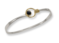"""Saratoga Bracelet by E.L. Designs in Sterling Silver & 14K Gold """"lasso"""" with Black Onyx"""