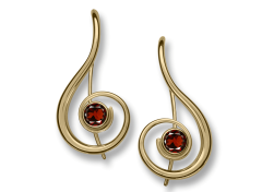 Lyrical Earring by E.L. Designs in 14K Gold with Garnet