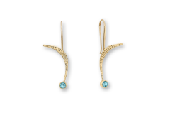 Quantum Leap Earrings in 14K Gold with Blue Topaz by E.L. Designs