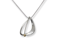 Delta Pendant by E.L. Designs in Sterling Silver with 14K Gold ball accent
